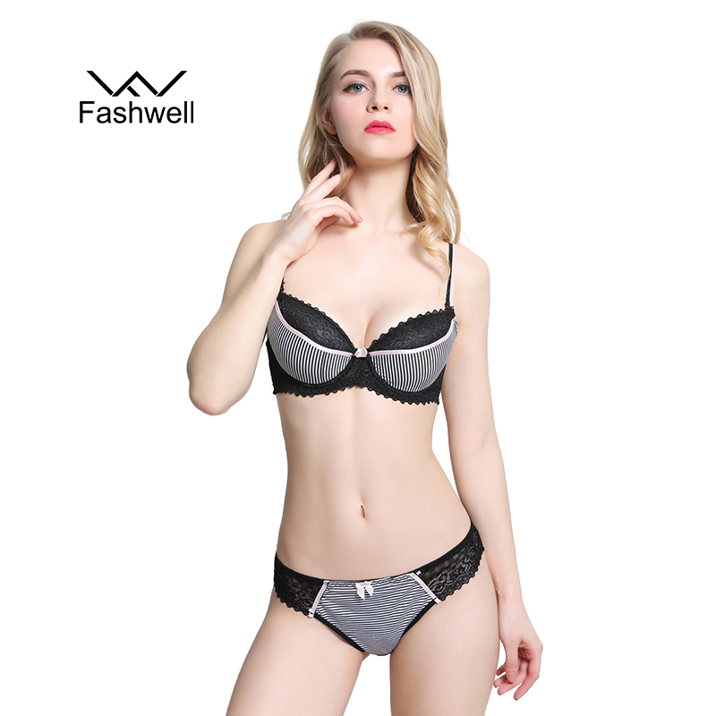 Fashwell Sexy Embroidery Floral Women   Bra     Brief     Sets   Luxury Lace Push Up   Bra     Set   Women Underwear   Set