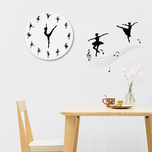 Modern ballet acrylic mirror wall clock quartz needle