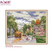 NKF cross stitch kit Town evening clear pattern needlework DMC 11/14 CT DIY easy handmade embroidery Kit for room decor and gift