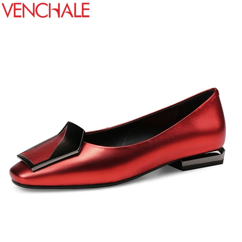 VENCHALE women casual flats women low heel shoes ladies genuine leather square toe office ladies spring autumn fashion flat shoe lotus jolly ballet flats faux leather women casual shoes tie vintage british oxford low pointed toe spring autumn zapatos mujer