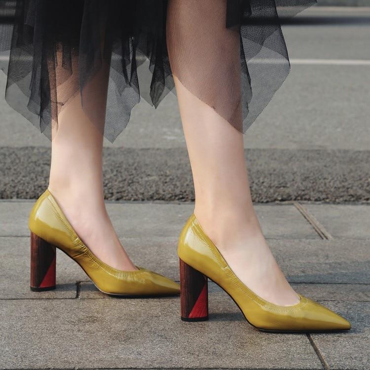 Cómodo Puntiagudo Boda Negro Cuero Bombas Grueso verde Pie Dedo De Del Mujer Alto Tacón {zorssar} 2018 Nueva Zapatos Patente zqtA6a