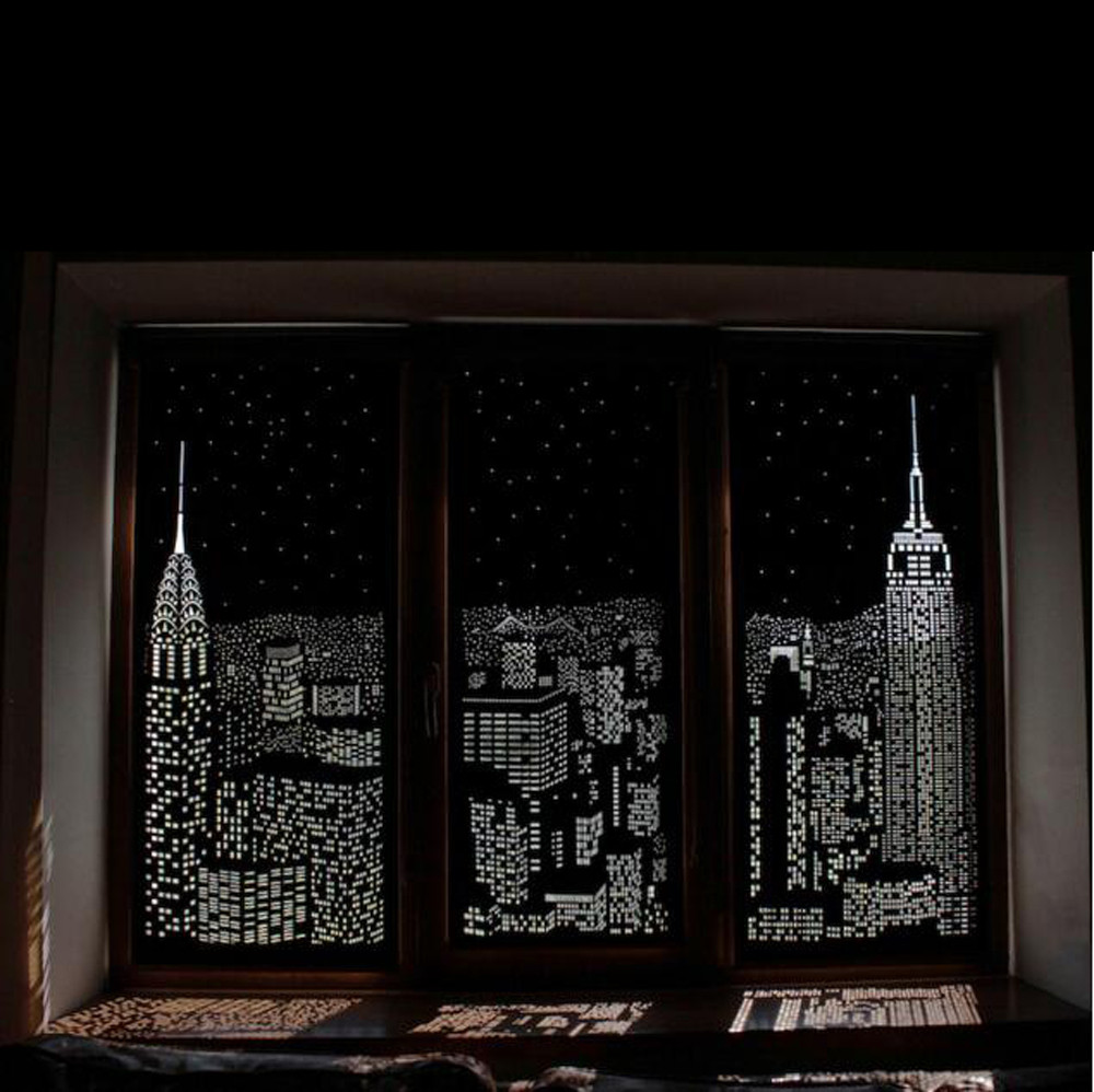 Blackout HoleRoll Curtains With Holes Incredible City Designs Curtain Bedroom