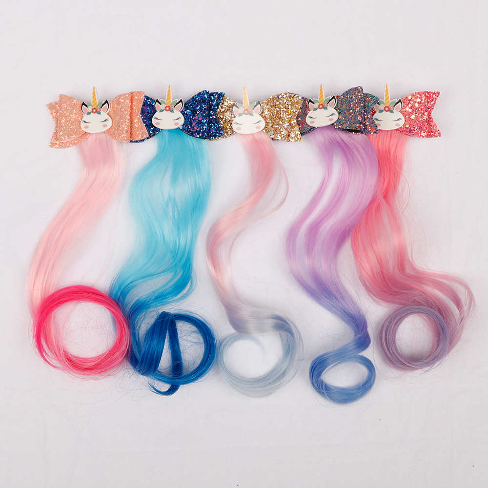 Glitter Hairbow Unicorn Cheer-Bow Baby Girls Kids Children Cartoon with Long-Wig Lovely