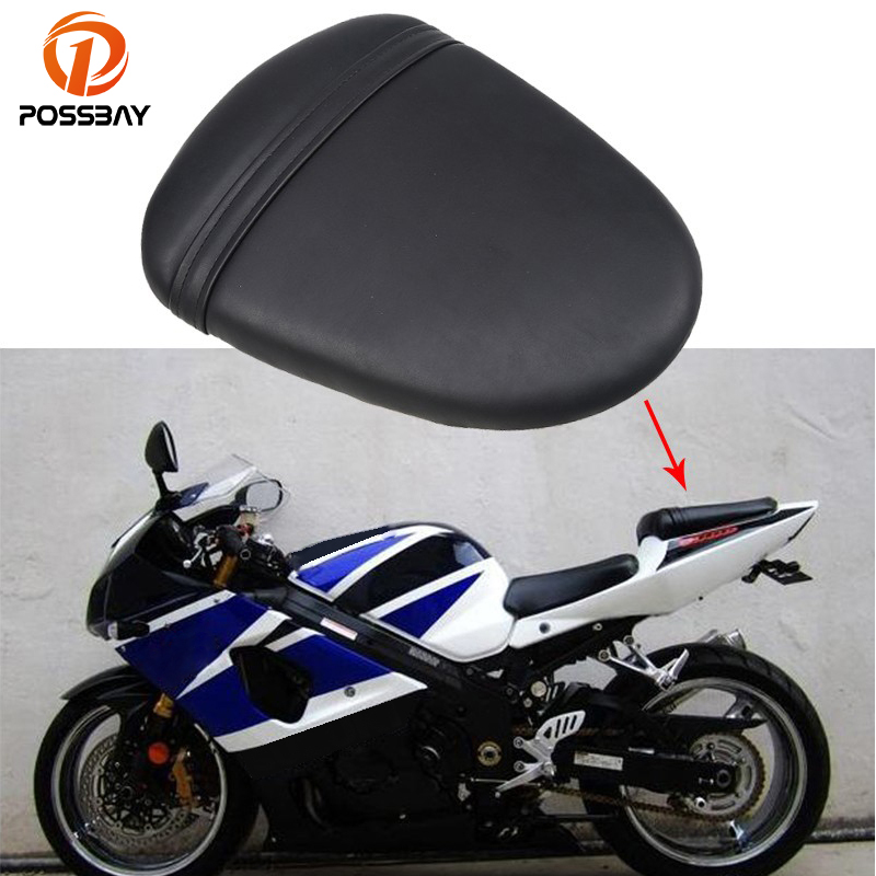 POSSBAY PU Leather Motorcycle Seat Cover Rear Pillion Passenger Seat Bike for Suzuki GSXR 1000 K7 2007 2008 Cafe Racer Seat