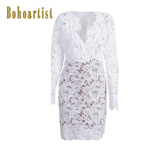 Bohoartist Women Bodycon Lace font b Dress b font White Sexy Hollow Out Party Spring font
