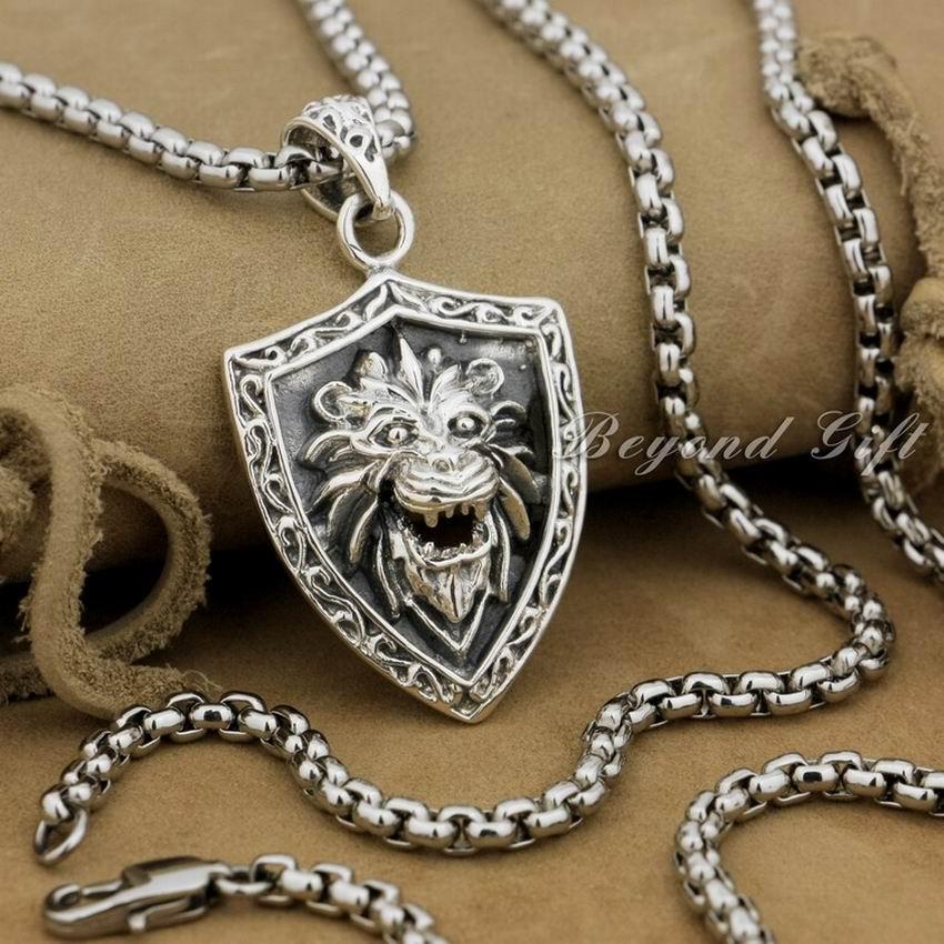 Lion Shield 925 Sterling Silver Mens Biker Rocker Punk Pendant 9R011Lion Shield 925 Sterling Silver Mens Biker Rocker Punk Pendant 9R011