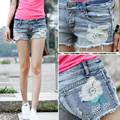 2016 Summer Women's Casual Embroidered Flower Rivets Ripped Hole Denim Hot Shortes Ladies Destroyed Low Waist Jeans Shorts