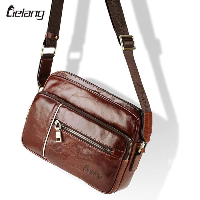 ФОТО LIELANG Hot 2016 Genuine Leather Bags Men Cowside Small Shoulder Bag Men's Cowhide Messenger Crossbody For Men Casual Travel Bag