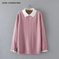 XUANCHURANWEN 2017 New Winter Autumn Women Long Sleeve Sweater Doll Collar Short Loose Plus Size Pullovers Jumper Femme YY25