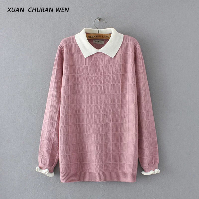 XUANCHURANWEN 2017 New Winter Autumn Women Long Sleeve Sweater Doll Collar Short Loose Plus Size Pullovers Jumper Femme YY25