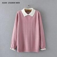 XUANCHURANWEN 2017 New Winter Autumn Women Long Sleeve Sweater Doll Collar Short Loose Plus Size Pullovers