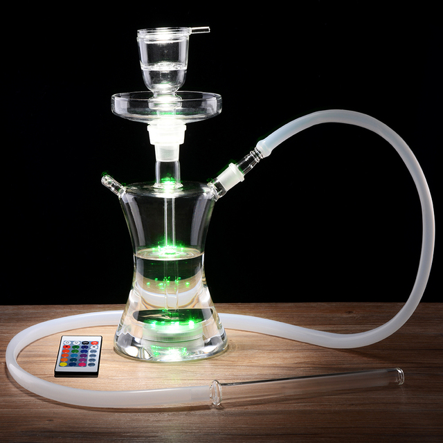 Complete Set with Multicolor LED Light Smoking Water Pipe 2
