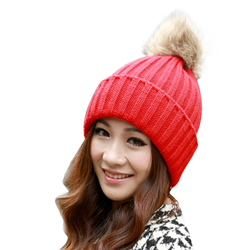 649973f4aba 2017 Women Faux Fur Ball Hats Fashion Winter Beanies Female Knitted Warm  Caps For Women Hat Crochet Knitted Wool Casual Cap Gift
