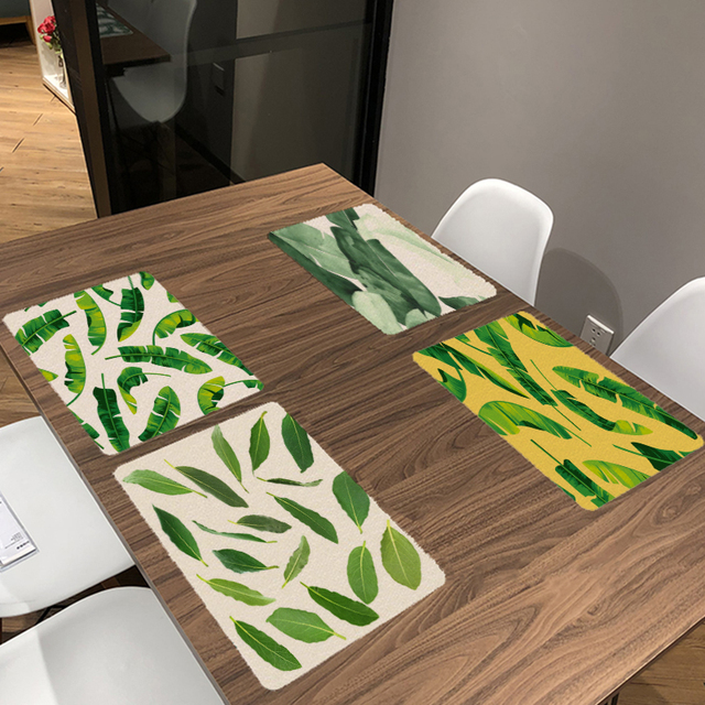 Simple Style Summer Green Leaves 32*42CM Square Banana Leaf Napkin Dinner  Table Cotton Placemat