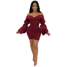 Sexy Slash Neck Mini Dress Women Long Folding Puff Sleeve V Neck Ruched Sheath Slim Hip Package Club Party Dress buenos ninos party night dress sexy v neck package hip dress