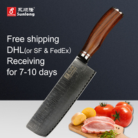 Sunlong VG10 Steel Core Damascus Steel Chinese Kitchen Knife Pattern Steel Home Slicing Knife Chef Knife