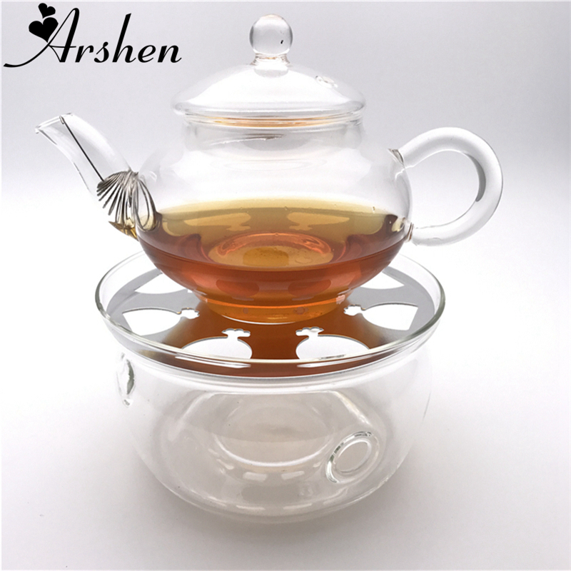 Arshen Durable Heat-Resisting Glass Crystal Teapot Coffee Water Scented Tea Warmer Candle Heater Base Metal Heat Conduction Pad