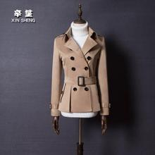 England double-breasted trench coat for women short