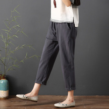 2019 Summer Autumn Women Casual Ankle Length Trousers Loose Solid Elastic Waist Cotton Linen Harem Pants