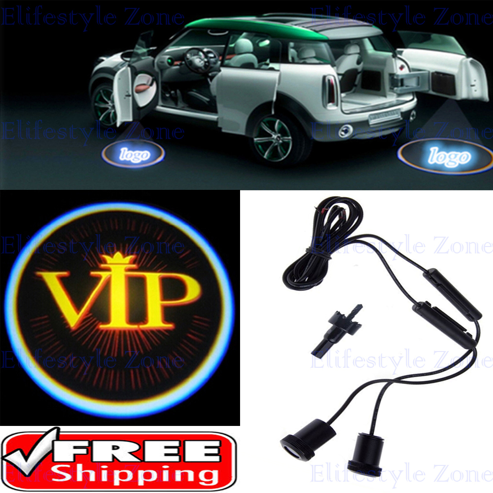 2 x Universal Car Door Lights LED VIP Car LED Laser Logo Lights Door Welcome Ghost Shadow Projector Courtesy Lights