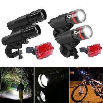 Lâmpada Bicicleta Luz da bicicleta LEVOU Lanterna Tocha Luz Traseira Modo 3 Ajustável Conjunto Ciclismo Kit Lanterna À Prova D' Água