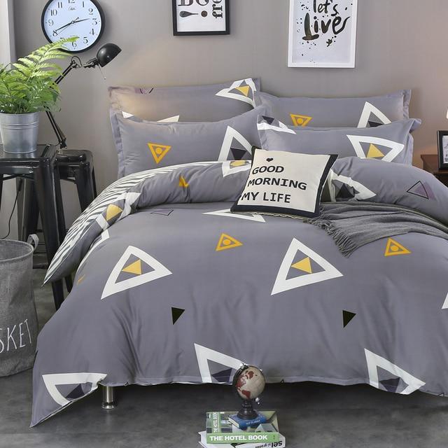 fashion modern geometric triangles grey striped 4pcs size bedding linen cover