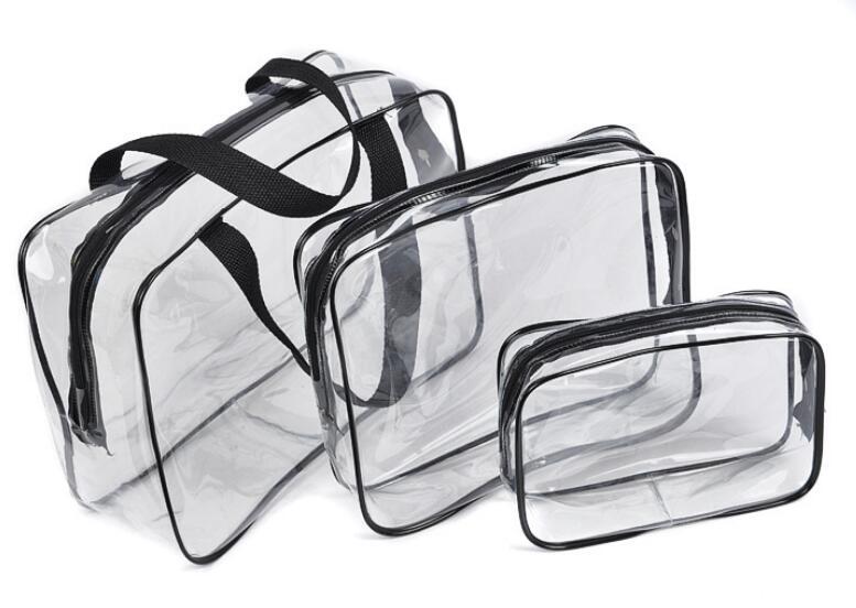 где купить Waterproof Transparent Travel Cosmetic Bag Women Portable Toiletry Makeup Make Up Wash Organizer Zipper Storage Pouch дешево