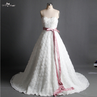 RSW915 Sweetheart Neckline Rose Pattern Wdding Dress With Sash