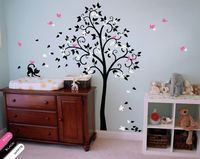 Nursery tree wall decal blossoms vinyl wall decal cat wall mural sticker 210cmX138cm