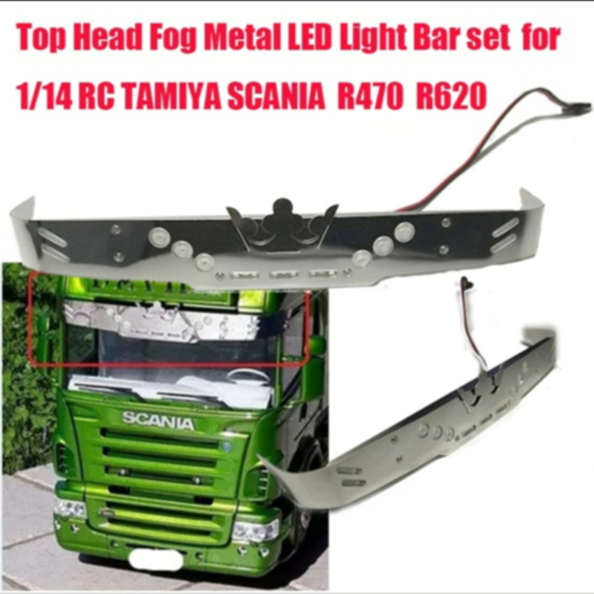 New scania truck top sun shield led light bar sets for tamiya 1/14th scale rc scania r620 56323 r730 r470 tractor trailer truck car window curtains legal