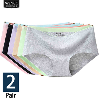 1/2Pcs briefs panties for women cotton seamless woman Mid-Rise Sexy lingerie  Girl shorts culotte