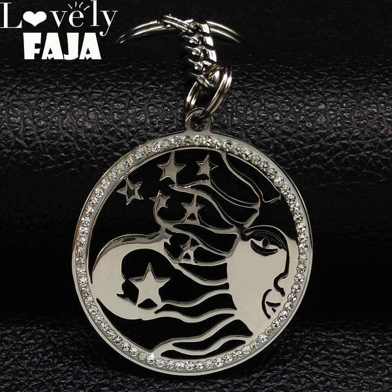 Wicca Moon Sun Stainless Steel Crystal Keyrings Women Round Silver Color Jewelry