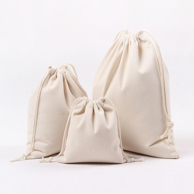 Plain Cotton Canvas Drawstring Bag Blank Pouch Tea Packaging Gift Herbs Christmas Free