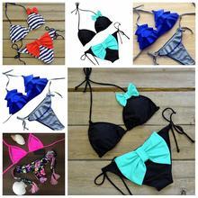 2016 Lovely High Quality Swimsuit Bathing Suit Low Waist Sexy Halter Side Tie Bikini Set Swimwear