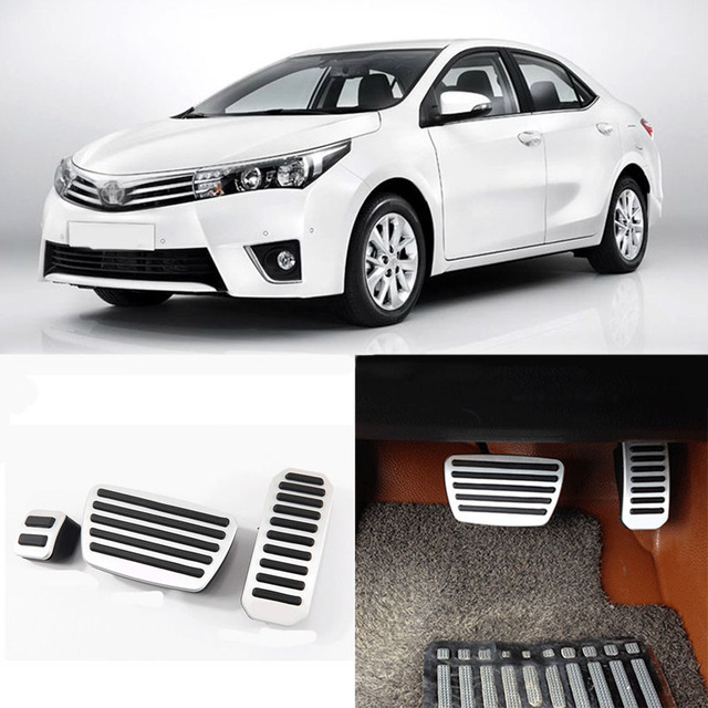Brand New 4pcs Aluminium Non Slip Foot Rest Fuel Gas Brake Pedal Cover For Toyota Corolla AT 2012-2016