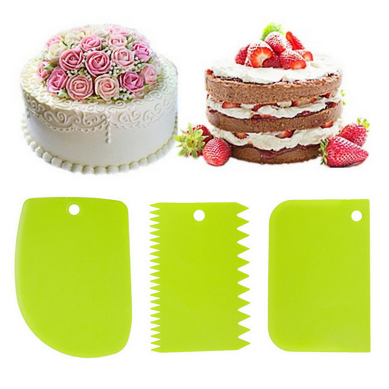 3pcs//Set DIY Cake Cream Scraper Fondant Slicer Baking Pastry Decorating Tools