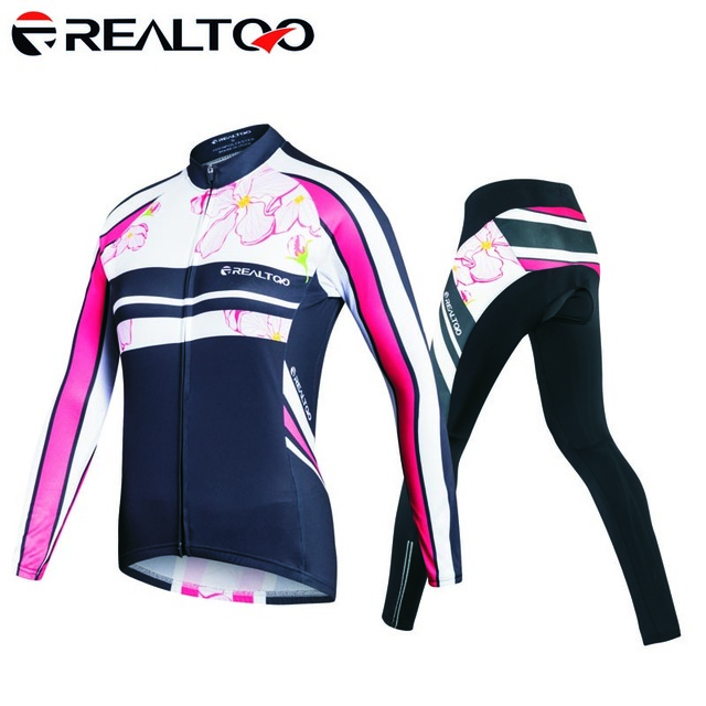 Womens Cycling set Factory Direct Sale Breathable High Quality Cycling Jersey+ Cycling Shorts Long Sleeve Cycling Clothing