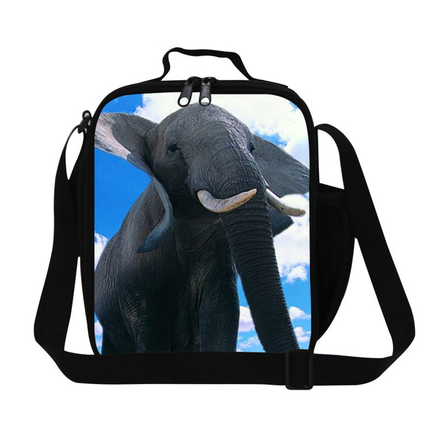 Best animal elephant 3D print lunch bags for adults,cool mens work lunch box,stylish insulated picnic food bag for school kids