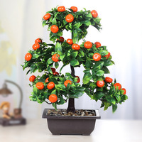 Artificial Plant Bonsai Orange Plastic Pots+Small Fruit Tree Potted for Home Living Room Flower Shop Hotel Wedding Party Decor