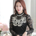 Restoring ancient ways to film the new autumn collar lace top female long sleeve blouse cultivate one's morality show thin hollo