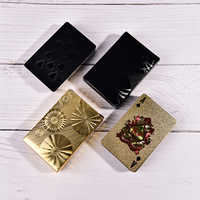 Gold/Black One Deck Gold Foil Poker Plastic Poker Playing Cards Waterproof Gambling Board game Poker 87*57*0.32MM