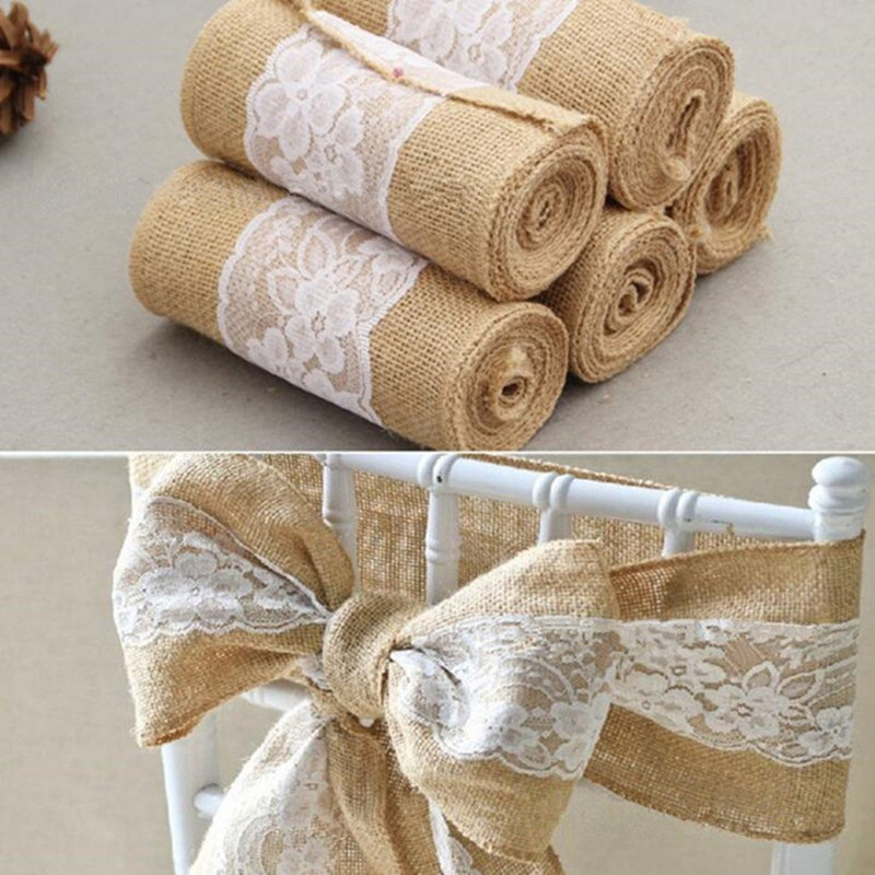 245cm * 15cm Burlap Hessian Ribbon med Lace Sashes til Wedding Craft - Varer til ferie og fester