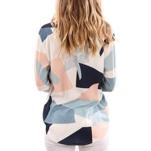 hot deal buy autumn blouses shirts fashion print women long sleeve v-neck shirt casual ladies ol office shirt tops