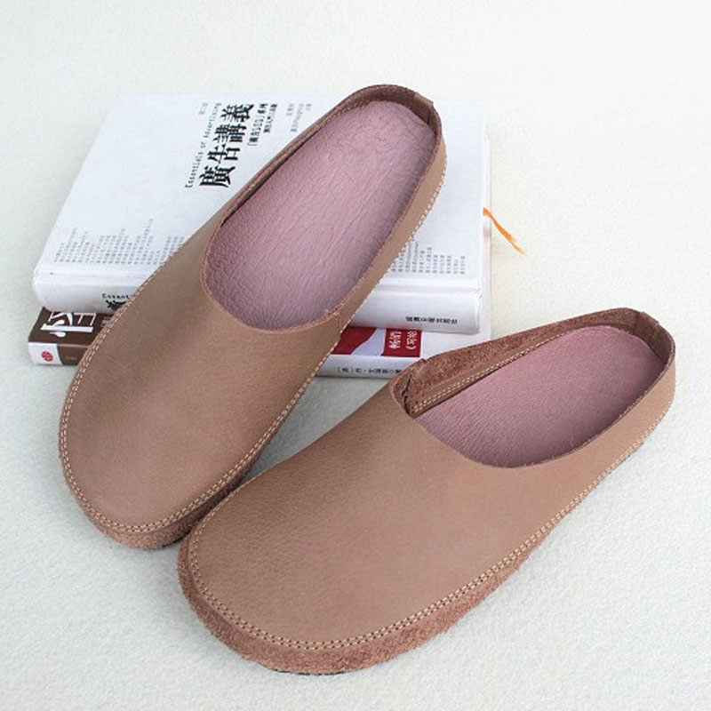 Women's Shoes Mules Slip On Ladies Flat Shoes 100% Genuine Leather Ballerina Woman Shoe Comfortable Female Footwear