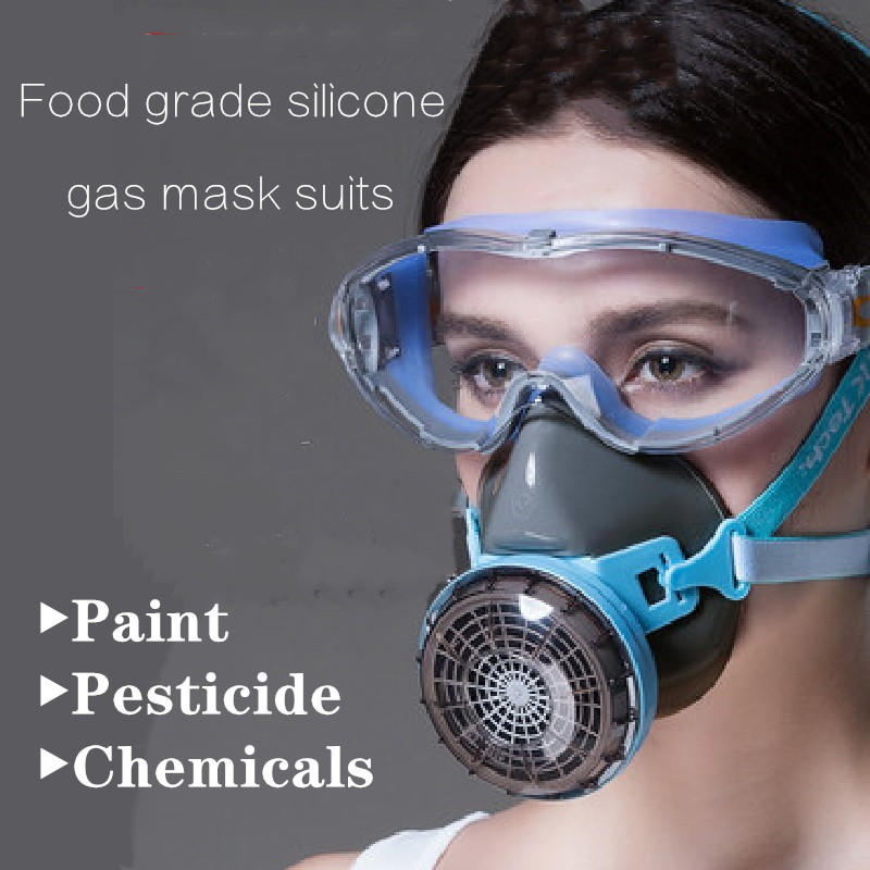 Silicone Half-face Gas Mask Suits Respirator One-tank Professional Paint Spray Chemical Organic Gases Filter Anti-fog GogglesSilicone Half-face Gas Mask Suits Respirator One-tank Professional Paint Spray Chemical Organic Gases Filter Anti-fog Goggles