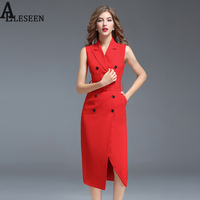 High Quality Plus Size XXXL Dresses 2017 New Summer Black Red Sleeveless Turn Down Double Breasted