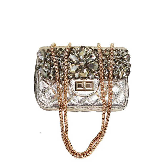 2017 Nuevo diamante embrague noche Bolsas oro color mujeres mano ...