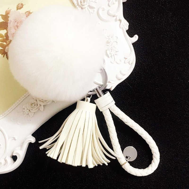 Qualidade Rex pele de Coelho bola pingente de Chave Da Cadeia de Moda Feminina Charme saco de Acessórios de borla chave do carro fivela Melhor Presente jóias K1608
