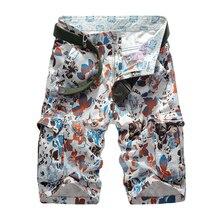 ФОТО new 2018 summer men's camouflage cargo beach shorts cotton men military casual short trousers multi-pockets men's shorts no belt