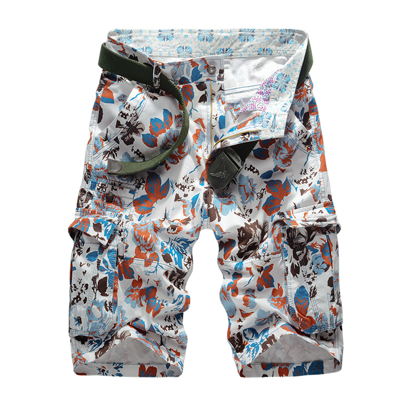 New 2018 Summer Mens Camouflage Cargo Beach Shorts Cotton Men Military Casual Short Trousers Multi-Pockets Mens Shorts No Belt